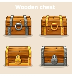 Closed wooden treasure chest vector