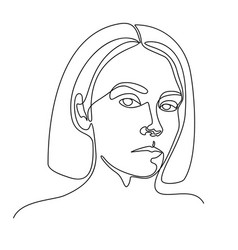 Continuous line drawing a girl portrait vector