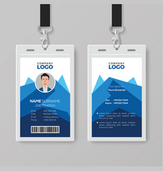 Creative id card template with abstract blue vector