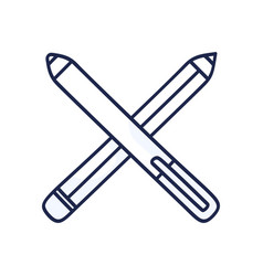 crossed pencils hand drawn doodle icon outline vector image