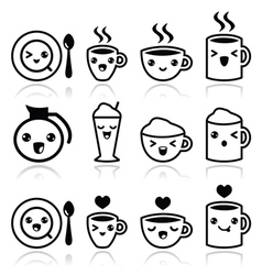 Cute coffee cappuccino and espresso Kawaii icons vector image