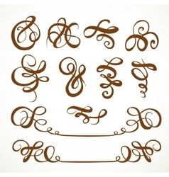 Decorative calligraphic flourishes on a white vector image