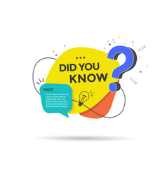 Did you know label with question mark vector