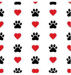 dog paw cat paw heart love puppy foot print vector image