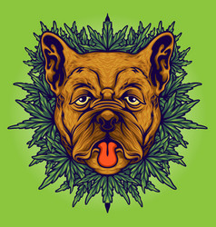 Dog weed cannabis background vector