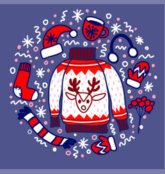 doodle christmas sweater with reindeer vector image