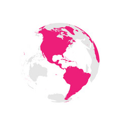 earth globe with pink world map focused on vector image