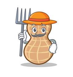 Farmer peanut character cartoon style vector