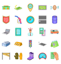 Fixing the machine icons set cartoon style vector