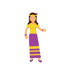 flat cartoon woman hippie happy and carefree vector image
