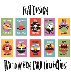 Flat Design Halloween Card Collection vector