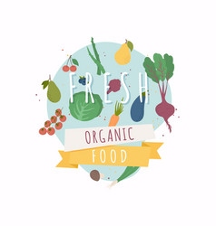 Fresh organic food healthy diet flat style vector