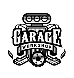 garage workshop car logo emblem vector image