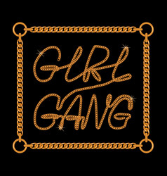 girl gang one line typography slogan for t-shirt vector image