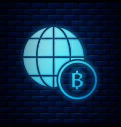 Glowing neon globe and cryptocurrency coin bitcoin vector