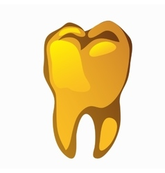 Golden human tooth molar closeup vector