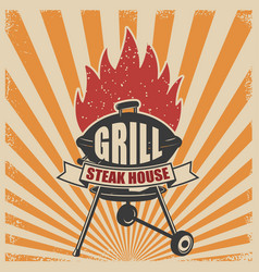 Grill menu grill fork and kitchen spatula on vector