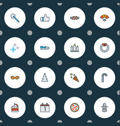 Happy icons colored line set with snowman candle vector
