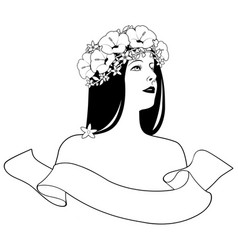 Head and shoulders beautiful girl with flower vector
