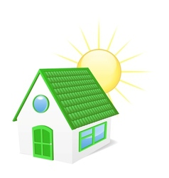 House with sun vector