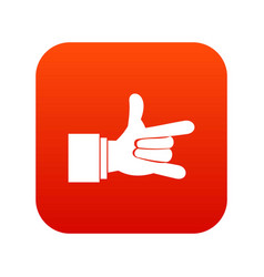 i love you hand sign icon digital red vector image