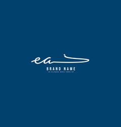 Initial letter ea logo - hand drawn signature logo vector