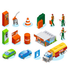 isometric gas station icons vector image