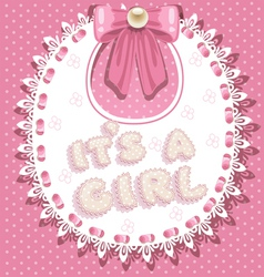 its a girl baby shower on pink bib vector image