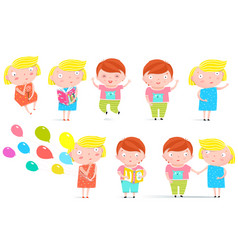 Kids boy and girl isolated clip art collection vector