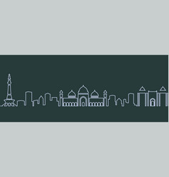 Lahore single line skyline vector