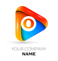 Letter o symbol in the colorful triangle vector