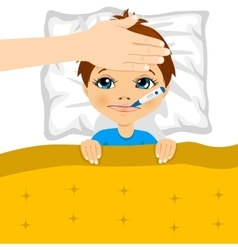 Little boy ill in bed with thermometer in mouth vector
