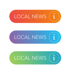 Local news sign button set vector