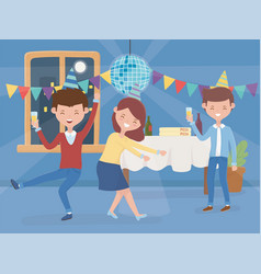 men and woman dancing drinking celebration party vector image