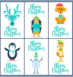 merry christmas reindeer on vector image