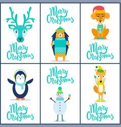 merry christmas reindeer vector image