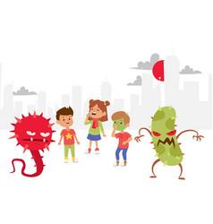 Microbes set banner vector