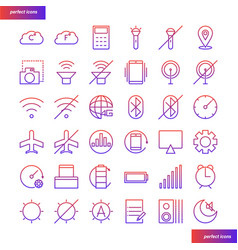 mobile function gradient icons set vector image