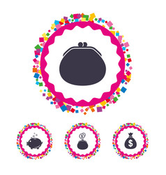 money bag icons wallet and piggy bank symbols vector image