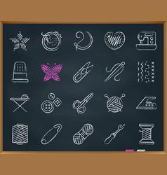 Needlework chalk draw line icons set vector