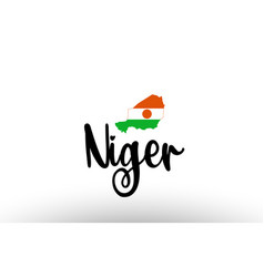 niger country big text with flag inside map vector image