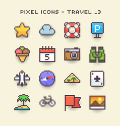 pixel icons-travel 3 vector image