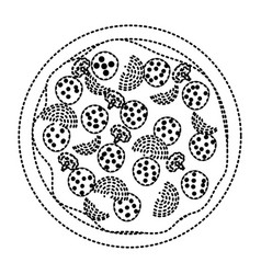 Pizza icon in black dotted silhouette on white vector