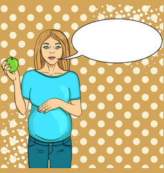 pop art background green pregnant woman on the vector image