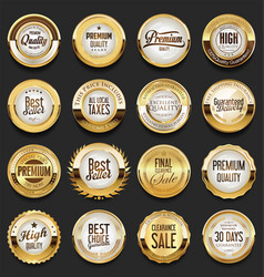 Premium quality golden labels collection 2 vector