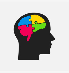 puzzle piece head and brain jigsaw brain puzzle vector image