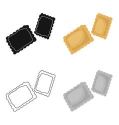 Ravioli pasta icon in cartoon style isolated on vector