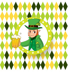 saint patricks day card with green hat and vector image