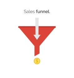 Sales lead funnel flat icon with arrows vector