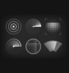 Scanner radar locator sonar or detector icons vector